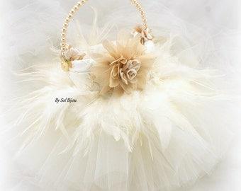 Flower Girl Basket, Ivory, Tan, Beige, Champagne, Tutu Basket, Lace Flower Basket, Feather Basket, Vintage Wedding, Gatsby, Pearl Basket