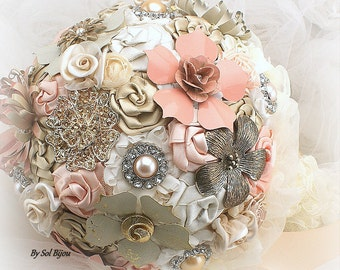 Brooch Bouquet, Blush, Peach, Coral, Ivory, Cream, Champagne, Elegant, Vintage Wedding, Jeweled, Lace Bouquet, Wedding Bouquet, Crystals