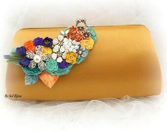 Gold Clutch, Purple, Orange, Turquoise, Yellow, Fall Wedding, Summer Wedding, Gold Handbag, Elegant,Mother of the Bride, Vintage Brooches