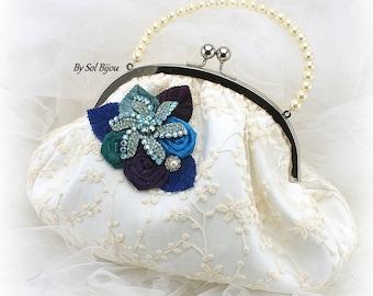 Purse,Ivory,Purple,Blue,Royal Blue,Turquoise,Handbag,Pearl Strap,Elegant Wedding,Beach Wedding,Lace,Mother of the Bride,Brooch,Pearls