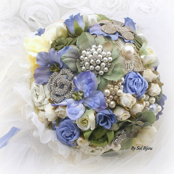 Brooch Bouquet, Periwinkle, Blue, Ivory, Silver, Cream, Green, Vintage Wedding, Jeweled, Feather Bouquet, Pearls, Crystals, Lace