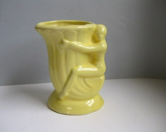 Vintage Fantasy McCoy nude lady vase Yellow fake McCoy vase