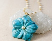 25% OFF Natural Turquoise Flower Pendant Necklace – White Freshwater Pearl and Opal Chain