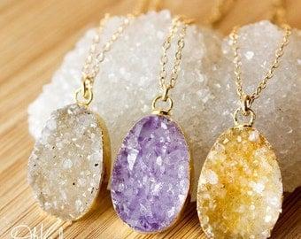 50 OFF SALE Gold Druzy Necklaces - Colourful Druzy Pendants - Choose Your Druzy