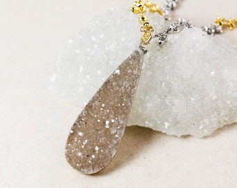 50% OFF SALE - Teardrop Druzy Necklace – Choose Your Druzy – Gold/Silver Pyrite Beaded Chain