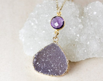 Purple Amethyst Quartz and Druzy Necklace – Choose Your Druzy – 14K Gold Filled Chain
