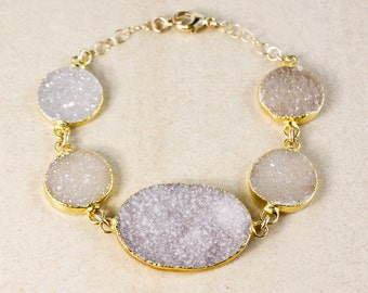 Lilac Natural Agate Druzy Bracelet – Choose Your Druzy and Setting
