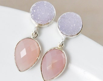 Lilac Pink Druzy and Pink Chalcedony Earrings – Silver Filled