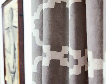 Moroccan Grey Gray Curtains Window Boho Shabby Chic Kitchen Curtain Panels Drapes 44 X