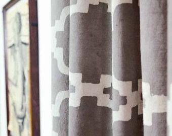 Moroccan Grey Gray Curtains Window Boho Shabby Chic Kitchen Curtain Panels Drapes 44 X