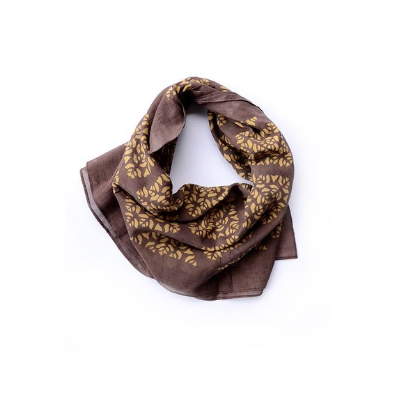 Brown cotton Scarf gold scarf handmade Block Print wrap natural dye ichcha fall fashion women accessories gift for her - Phool