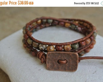 SUMMER SALE Abundance Jasper Beaded Leather Wrap Bracelet