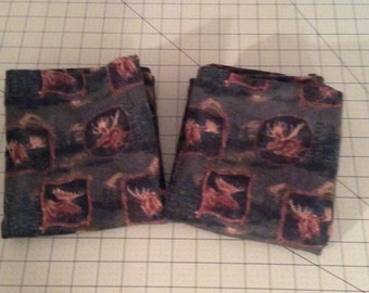 North Woods Moose Flannel Pillow Case Set for Queen/Standard Size Bed Pillows