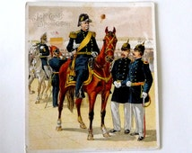 Victorian Trading Card -  Winfield Scott Hancock -  Union Army - Civil War - 1880s - Military - Calvary - Horse - J & P Coats Thread - Ad