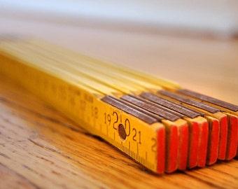 Vintage Yellow Wood Folding Carpenter Zig Zag Ruler From Germany in Metric 2 Meters Rustic DIY