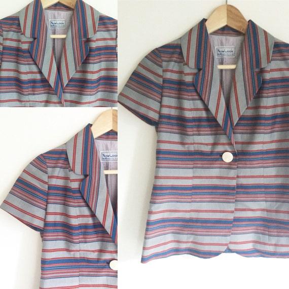 Vintage Silk Striped Blazer Blouse / Size S