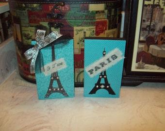 Set of 2 Turquoise EIFFEL Tower blocks, FRENCH decor, PARIS bedroom decor, French bedroom, Paris decor, Paris wall decor, Shabby chic