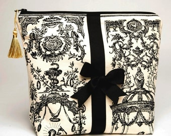 Cosmetic Bag / Toiletry Pouch / Travel Tote/ Beauty Tote -Vintage Toile Fabric with Grosgrain Bow and Gold Tassel
