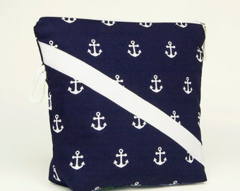 Cosmetic Bag / Toiletry Pouch / Travel Tote / Beauty Bag - Preppy Nautical Navy w/ White Achors