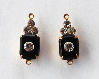 Vintage Glass & Rhinestone Beads Jet Black Octagon Pendant Connector Swarovski Rhinestones 17x8mm