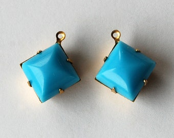 Vintage Glass Square Pendants Turquoise Blue Glass Beads 12mm