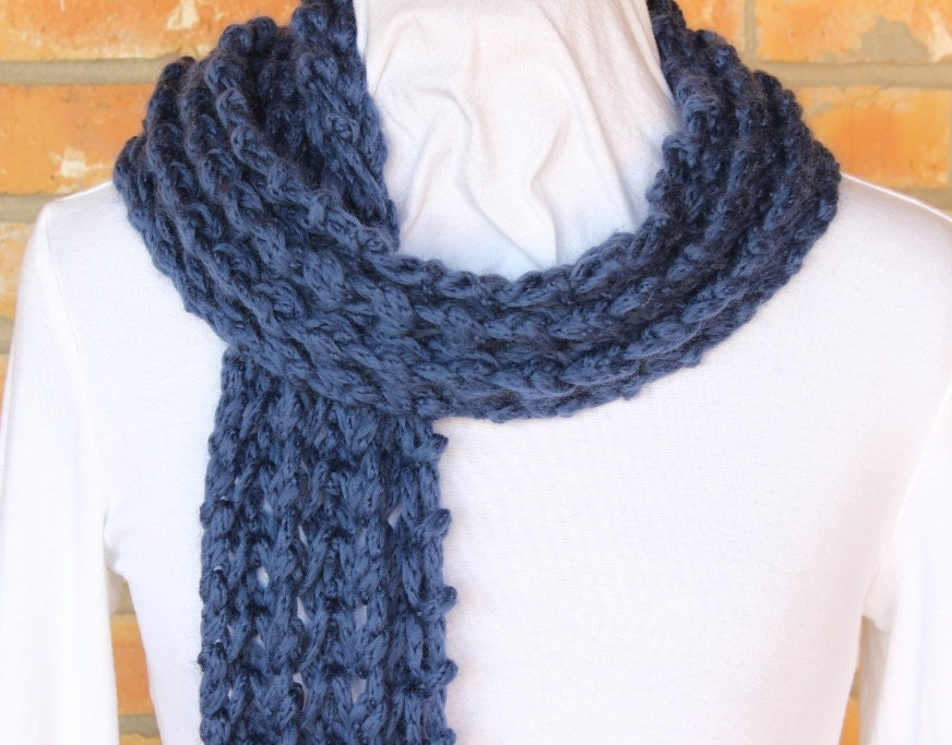 Knit Scarf Pattern With Bulky Yarn : Chunky Knit Scarf Pattern Openwork Bulky Knitted Scarf