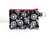Black Bikes Zippered Bag / Coin Purse / ID Case / Gadget Pouch with Split Ring - Ready to Ship