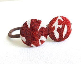 Ponytail Holder Set of 2 - Red Coral - READY TO SHIP
