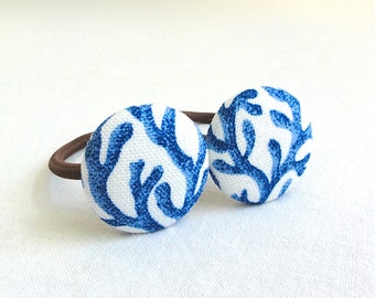 Ponytail Holder Set of 2 - Ocean Blue Coral - READY TO SHIP