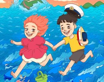 A4 Ponyo Print [Studio Ghibli]