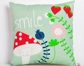 """decorative throw pillow for kids room """"smile"""" with mushroom and flowers in mint and red - 12 inch / 30 cm"""