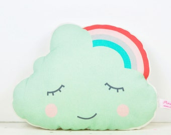 mini cloud with rainbow pillow in mint