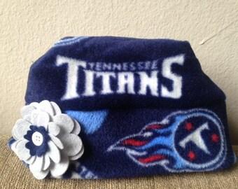 Tennessee Titans Fleece Flower Hat Sizes Newborn baby to Adult Women