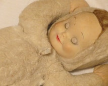 Vintage Mid Century Knickerbocker Plush Doll With Rubber Face Sleepy Doll