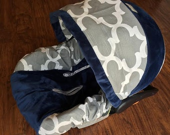 Ritzy Baby Grey & Navy Boy Infant Car Seat Cover, Baby Car Seat Cover Set Including Strap Set