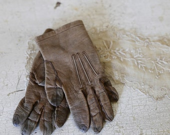 antique leather baby gloves