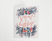 Happiest of Birthdays - Happy Birthday Painted Flowers - Greeting Card - A-2