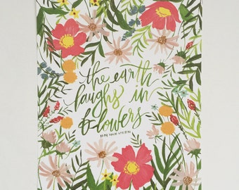 The Earth Laughs in Flowers - 8 x 10  - Illustration - Art Print