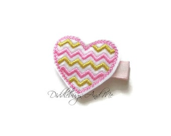 Pink And Gold Chevron Heart Hair Clip, Valentine Clip, Heart Hair Clip, Toddler Hair Clip, Girls Hair Accessories, Chevron Heart Hair Clip