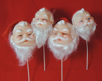 Santa doll head collection vintage Christmas pick bearded Claus mixed media ornament new old stock