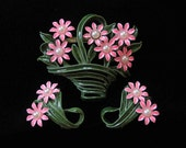 Pink and Green Enamel Basket of Flowers Brooch and Earring Demi