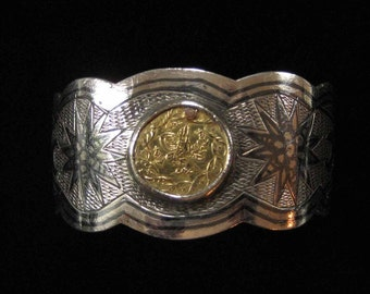 Late 1800's Neillo Sterling Bangle with Gold Ornament, Middle Eastern