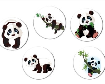 Panda Bear Fridge Magnet Set of 5 Different Adorable Pandas  Cute Panda Bear Refrigerator Magnets 2 1/4 inches in diameter