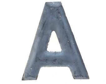Letter A Black Metal 8 Inch Vintage 1950s 1960s Industrial Building Salvage Sign Letter