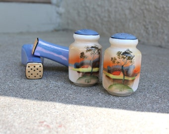 Vintage Salt Pepper Shakers Two Sets Coordinating Asian Ceramic Glaze Hand Painted Japanese Coral Periwinkle Blue 1950s Collectibles