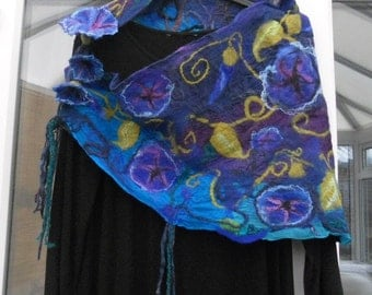 Summer Sale, Nuno felted scarf, shawl wrap, Special Occasion, triangle scarf, Lily, Morning Glory flowers, blues purples, hand felted scarf