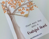 Fall Grateful Heart necklace - Card Thanksgiving party favor gift - tiny Gold heat necklace - Gratitude Jewelry necklace carded gift heart