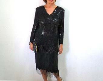 Vintage Black Beaded Sequin Flapper Dress Fringe Silk Sequined Gown Great Gatsby Medium