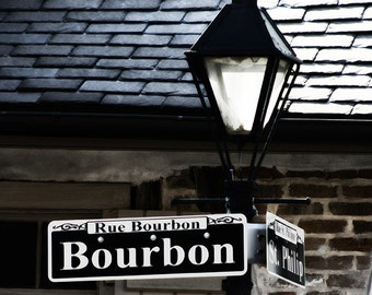 Bourbon Street Photography, New Orleans Art, French Quarter Street Sign, Fine Art Print, Mardi Gras, Black White, Louisiana Home Decor