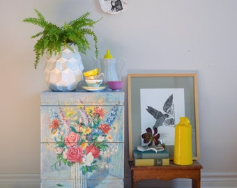 Decoupaged floral night stand
